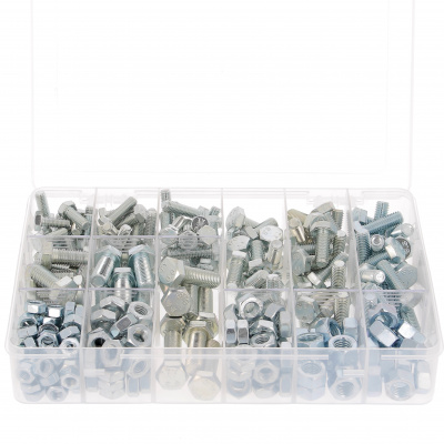 Kufrík 292 šesťhranné hlavy + matice M8-M10-M12, oceľ 8.8 pozinkovaná biela, DIN 933